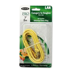 Belkin CAT5e Snagless Patch Cable, RJ45 Connectors, 7 ft., Yellow