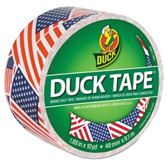 "Duck Colored Duct Tape, 9 mil, 1.88"" x 10 yds, 3"" Core, US Flag"