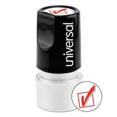 Universal Round Message Stamp, CHECK MARK, Pre-Inked/Re-Inkable, Red