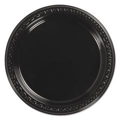 "Heavyweight Plastic Plates, 7"" Diameter, Black, 125/Pack, 8 Packs/CT"