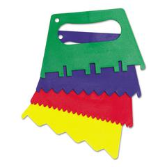 "Plastic Paint Scrapers, 5""W, Green/Blue/Red/Yellow, 4 Scrapers/Set"