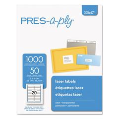 Laser Address Labels, 1 x 4, Clear, 1000/Pack