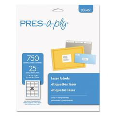 Laser Address Labels, 1 x 2 5/8, Clear, 750/Pack