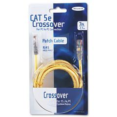 Belkin CAT5e Crossover Patch Cable, RJ45 Connectors, 7 ft., Yellow