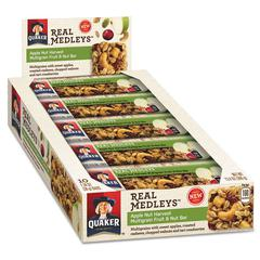 Real Medleys Fruit & Nut Multigrain Bars, Apple Nut Harvest, 1.34 oz Bar, 10/Box