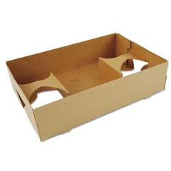 4-Corner Pop-Up Food and Drink Tray, 4-Cup, 10x6.5x2.5, Brown, 250/Carton