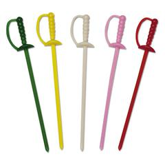 "Royal Paper Sword Picks, 3 1/4"", Assorted Colors, 10000/Carton"