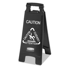Executive 2-Sided Multi-Lingual Caution Sign, Black/White, 10 9/10 x 26 1/10