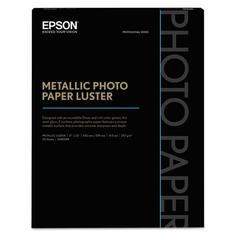 Epson Professional Media Metallic Photo Paper Glossy, White, 17 x 22, 25 Sheets/Pack