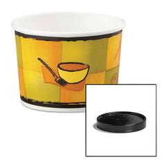 Huhtamaki Soup Food Containers w/Vented Lids, Streetside Pattern, 12 oz, 250/Carton