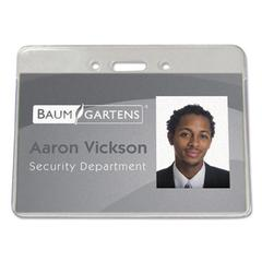 Baumgartens Sicurix Proximity Badge Holder, Horizontal, 4w x 3h, Clear, 50/Pack