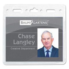Baumgartens Sicurix Vinyl Badge Holder, 4 1/4 x 1 1/8, Clear, 50/Pack