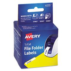 Thermal Printer File Folder Labels, 1/3 Cut, White, 130/Roll, 2 Rolls