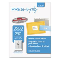 PRES-a-ply Laser Address Labels, 1 1/3 x 4, White, 3500/Box