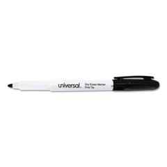 Universal Pen Style Dry Erase Marker, Fine/Bullet Tip, Black, Dozen