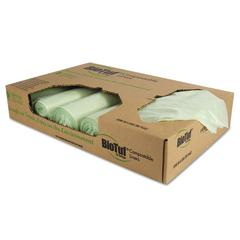 Biotuf Compostable Can Liners, 48 gal, 1 mil, 42 x 48, Light Green, 100/Carton