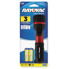 Rayovac Flashlight, Rubber & Aluminum, 3 V, LED, Red/Black, 2 AA