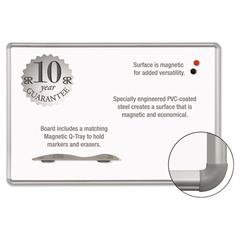Best-Rite Magne-Rite Magnetic Dry Erase Board, 96 x 48, White, Silver Frame