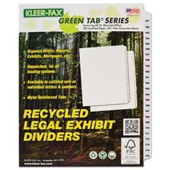 """Kleer-Fax 90000 Series Side Tab Legal Index Divider Set, Printed """"151""""-""""175"""""""
