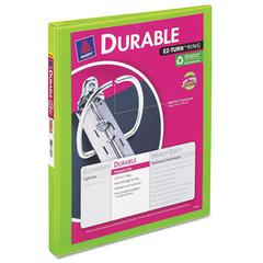 """Avery Durable View Binder w/Slant Rings, 11 x 8 1/2, 1/2"""" Cap, Chartreuse"""