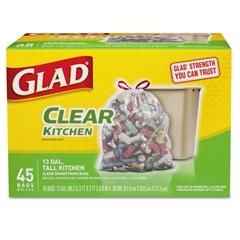 Glad Recycling Tall Kitchen Trash Bags, Clear, Drawstring, 13 gal, .9 mil, 45/Box