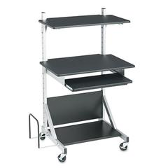 Alekto Compact Sit & Stand Workstation, 30 x 24 x 52, Black/Silver