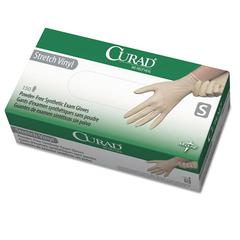 Curad Stretch Vinyl Exam Gloves, Powder-Free, Small, 150/Box