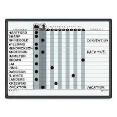 Quartet Magnetic Employee In/Out Board, Porcelain, 24 x 18, Gray/Black, Aluminum Frame