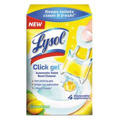 LYSOL Brand Click Gel Automatic Toilet Bowl Cleaner, Citrus, 0.17 oz, 4/Box