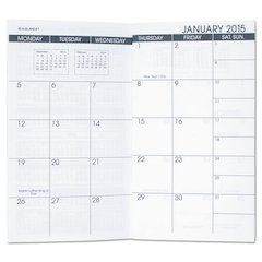 Pocket Size Monthly Planner Refill, 3 5/8 x 6 1/8, White, 2017-2018
