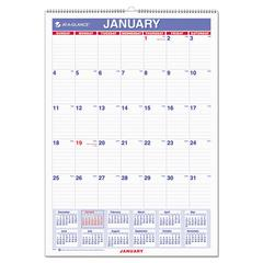 Monthly Wall Calendar with Ruled Daily Blocks, 12 x 17, White, 2017
