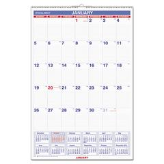 AT-A-GLANCE Monthly Wall Calendar with Ruled Daily Blocks, 20 x 30, White, 2017