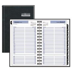 Hardcover Daily Appointment Book, 4 7/8 x 8, Black, 2017