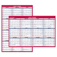Erasable Vertical/Horizontal Wall Planner, 32 x 48, Blue/Red, 2017