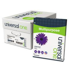 Universal Multipurpose Paper, 98 Brightness, 20lb, Ltr, 3-Hole Punch, Bright WE, 5000/Ctn