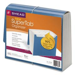 SuperTab Expanding File, 12 Pockets, Letter, Blue