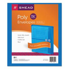 Smead Poly String & Button Booklet Envelope, 9 3/4 x 11 5/8 x 1 1/4, Blue, 5/Pack