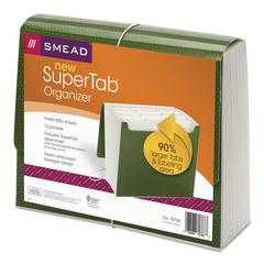 Smead SuperTab Expanding File, 12 Pockets, Letter, Green
