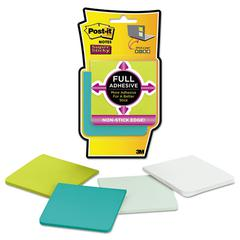 Full Adhesive Notes, 3 x 3, Bora Bora Colors, 4/Pack