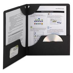 Smead Lockit Two-Pocket Folder, Textured Paper, 11 x 8 1/2, Black, 25/Box