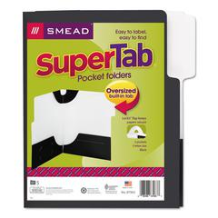 Smead SuperTab Two-Pocket Folder, 11 x 8 1/2, Black, 5/Pack