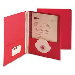 "2-Pocket Folder w/Tang Fastener, Letter, 1/2"" Cap, Red, 25/Box"