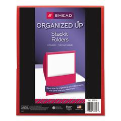 Smead Organized Up Stackit Folder, Textured Stock, 11 x 8 1/2, Red, 10/Pack