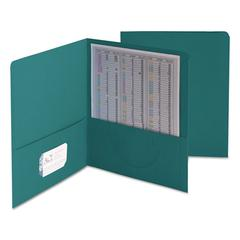 Smead Two-Pocket Folder, Textured Paper, Teal, 25/Box