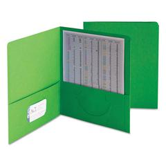 Two-Pocket Folder, Textured Paper, Green, 25/Box