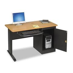 LX48 Computer Security Workstation, 48w x 24d x 28-3/4h, Teak/Black
