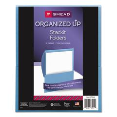 Organized Up Stackit Folder, Textured Stock, 11 x 8 1/2, Blue, 10/Pack