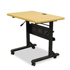 Flipper Training Table, Rectangular, 36w x 24d x 29-1/2h, Teak/Black
