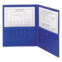 Poly Two-Pocket Folder w/Security Pocket, 11 x 8 1/2, Blue, 5/Pack