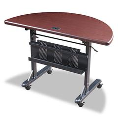 Flipper Training Table, Half-Round, 48w x 24d x 29-1/2h, Mahogany/Black